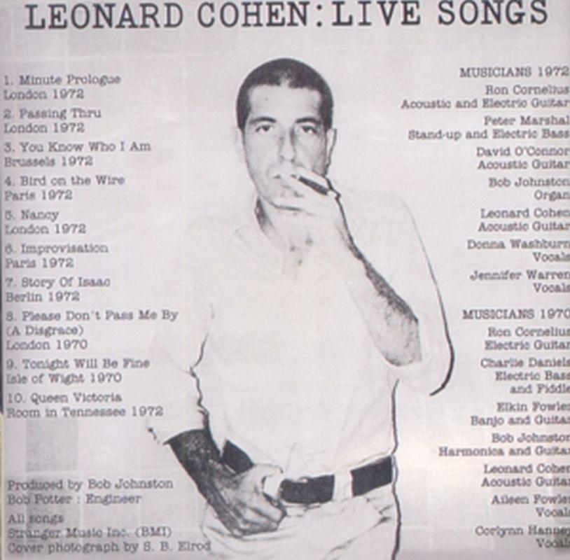 Leonard Cohen - Live Songs - Cd