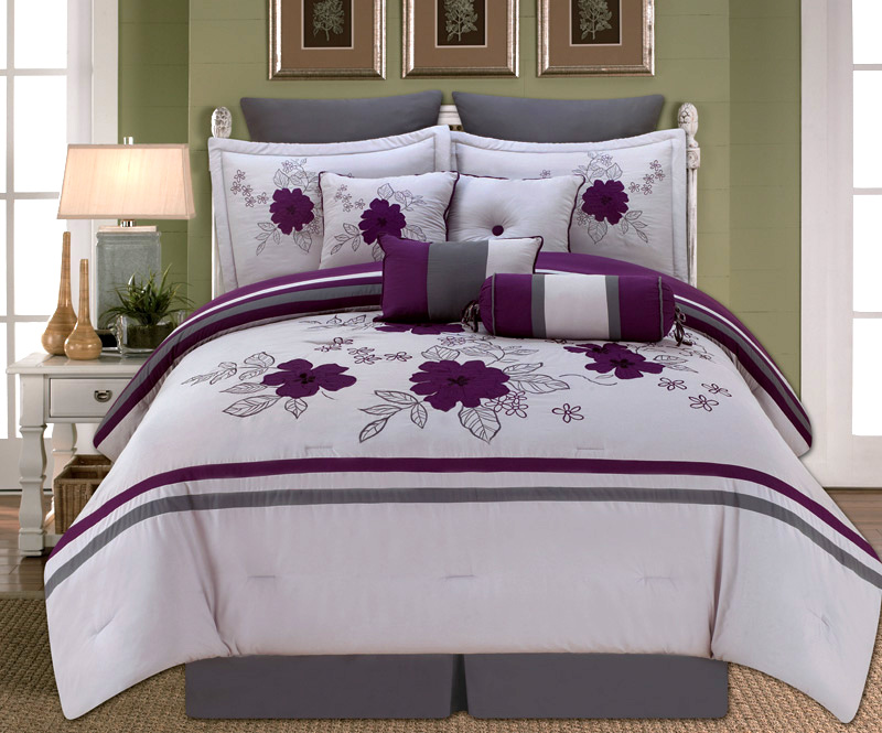 10 Piece Queen Alyssa Purple And Gray Comforter Set