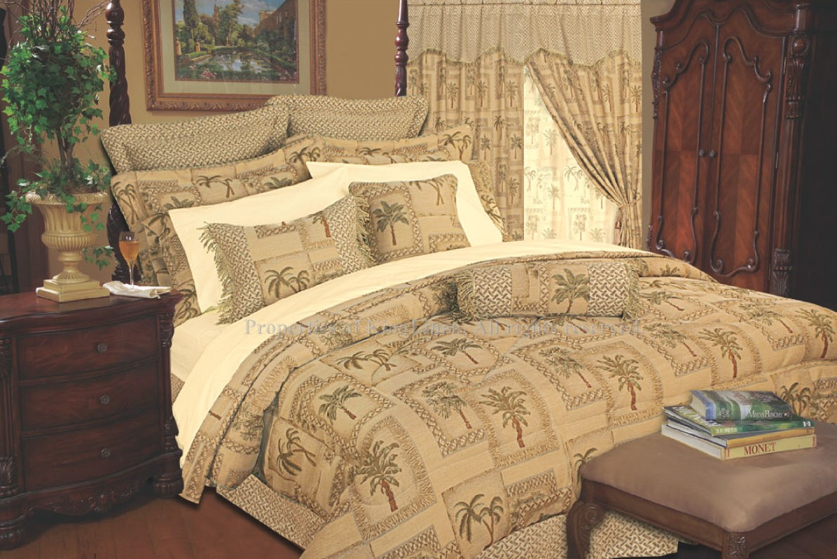 Curtains Ideas black and tan curtains : Details about 13PC TAPESTRY PALM COMFORTER CURTAIN BED IN A BAG QUEEN