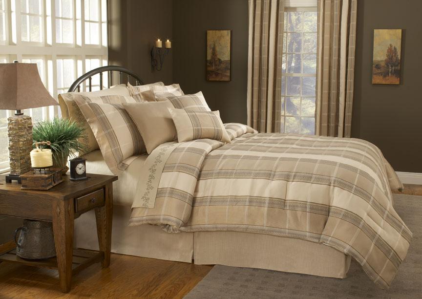 7pcs queen liverpool plaid bed in a bag comforter set ebay. Black Bedroom Furniture Sets. Home Design Ideas