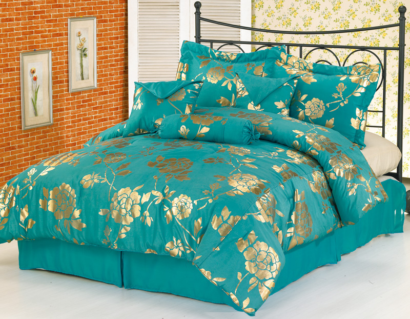 7pcs Teal Floral Metallic Bedding Comforter Set King Ebay