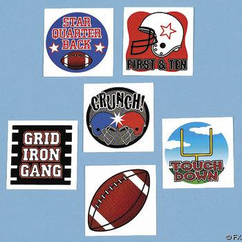 144 Football Tattoos Party Favors Temporary New - eBay (item 310286194313