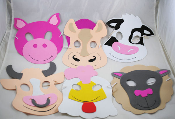 12 Assorted Farm Animal Masks Party Favors Costume on PopScreen