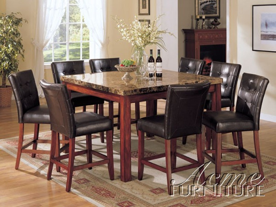 Counter Height Marble Top Dining Table w 8 Chairs Set eBay : 7380SET from www.ebay.com size 1068 x 801 jpeg 180kB