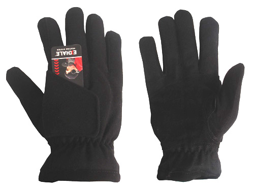 180s Exhale Black Northcape Wool / Suede Snowboarding Ski Gloves, Men