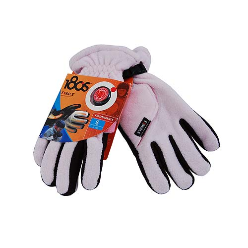 180s Exhale Pink / Black Fleece Heating Snowboarding Ski Gloves, Kids Large 10-12