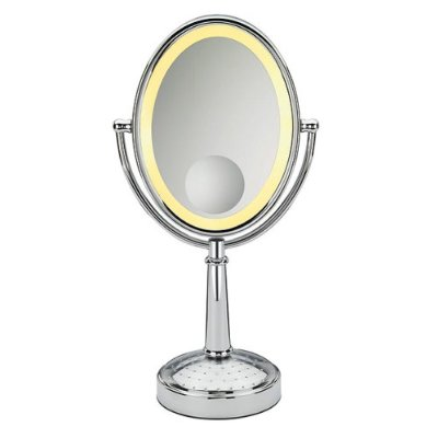 "Conair BE86 Infiniti Triple Magnification Mirror, 9"" Oval Frame Polished Chrome"