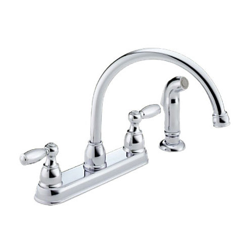 Peerless P99575 Two Handle Kitchen Sink Faucet w/ Spray, Polished Chrome