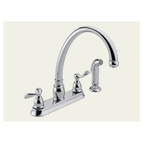 Peerless P99596 Two Handle Kitchen Sink Faucet w/ Spray, Polished Chrome