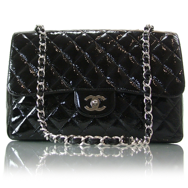 CHANEL Patent Classic JUMBO Flap 2.55 Bag CC Black