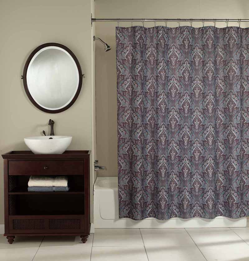 blue art deco paisley print fabric shower curtain