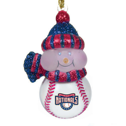 Pack 4 Mlb Washington Nationals Led Lighted Baseball Snowmen Christmas