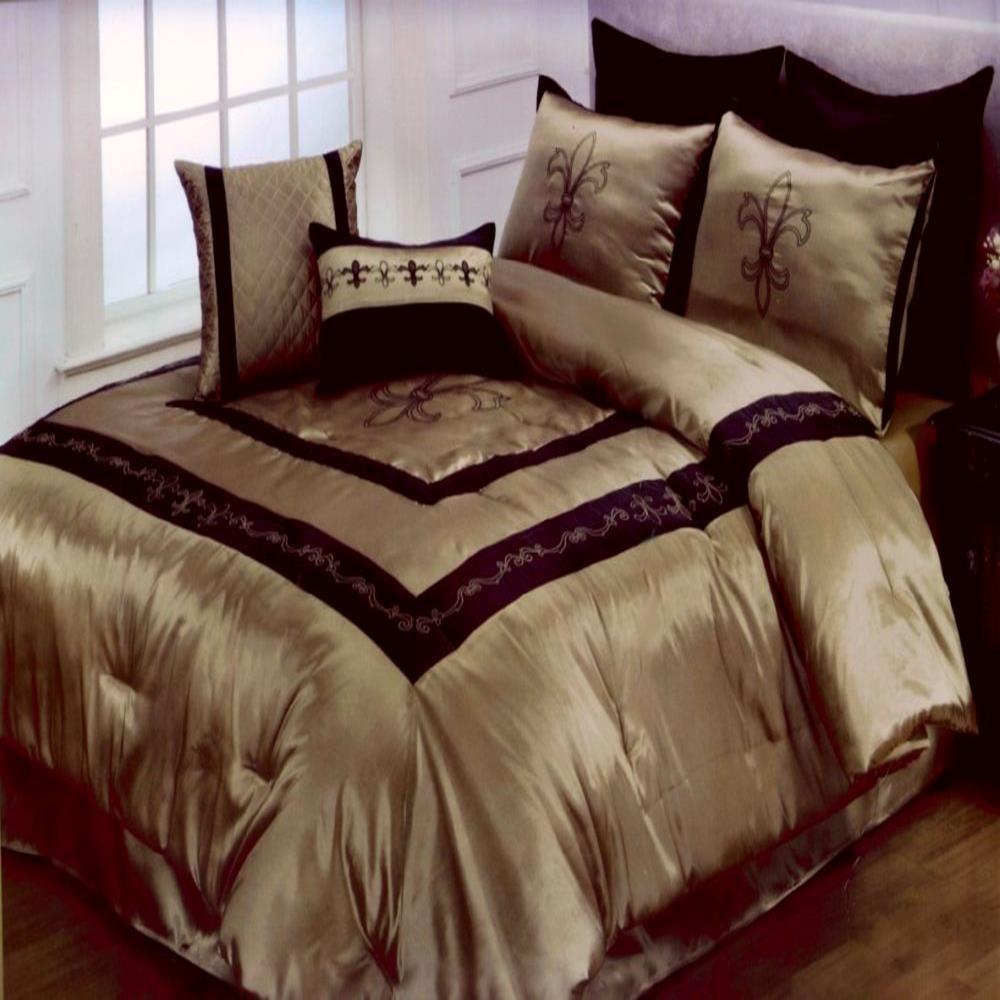 Hallmart fleur de lis king 9 piece comforter set new ebay - Fleur de lis comforter ...