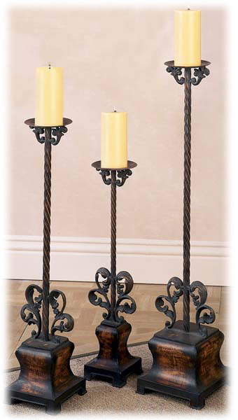 New 3 floor standing wrought metal candle holders 260 ebay for Floor candle holders