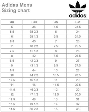 DMS Adidas Mens size chart