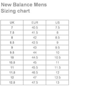 new balance size chart compared to adidas