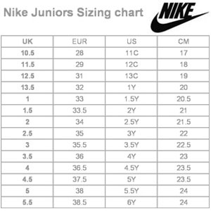 adidas junior shoe size chart