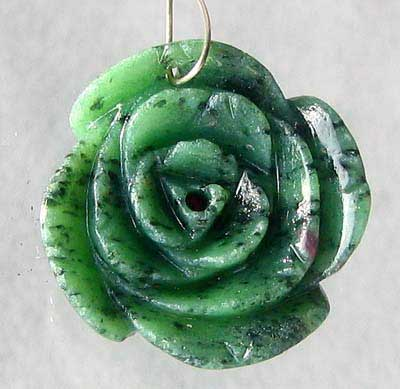 carved zoisite rose bead