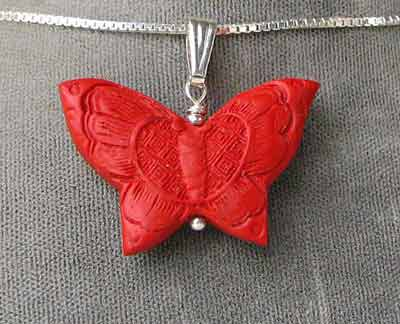 sterling cinnabar butterfly pendant