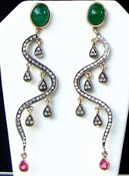 18KW gold emerald diamond earrings