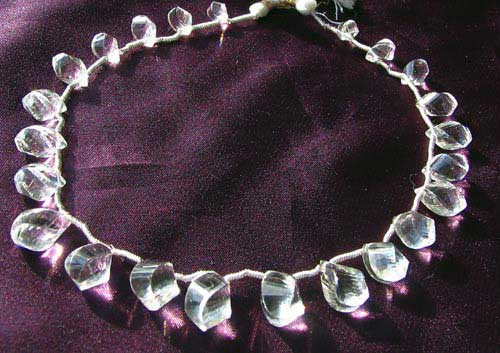 designer faceted quartz briolette beads