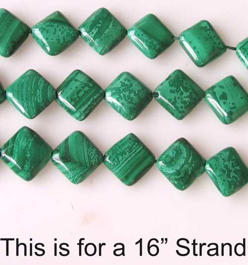 malachite diagonal square coin beads