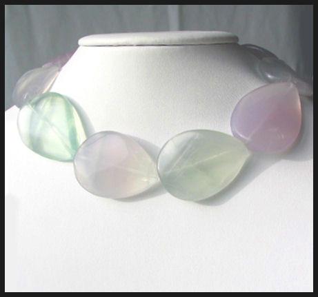 pastel fluorite teardrop beads