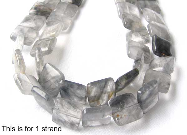 misty grey quartz square coin beads