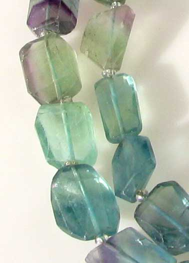 multi-hue faceted fluorite nugget beads