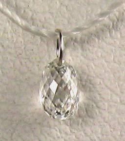 natural white diamond on 18K loop bead