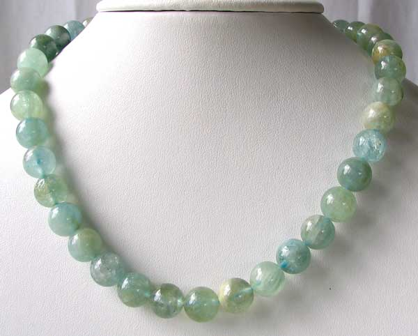 10mm round aquamarine beads