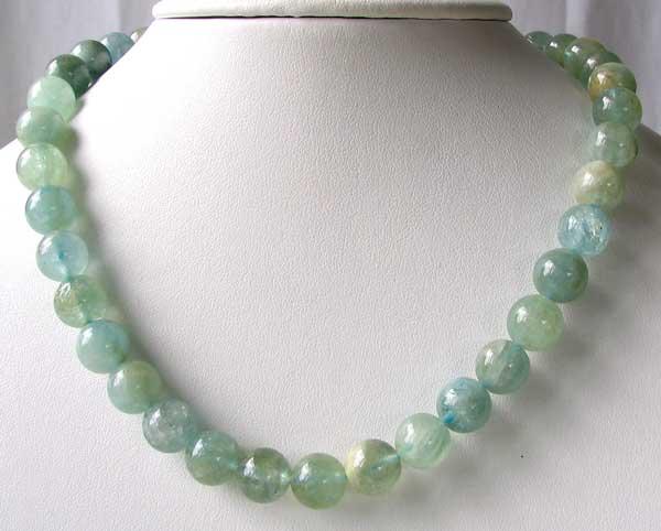 10mm round aquamarine beads