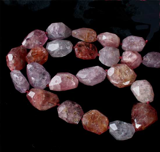 natural spinel faceted nugget beads