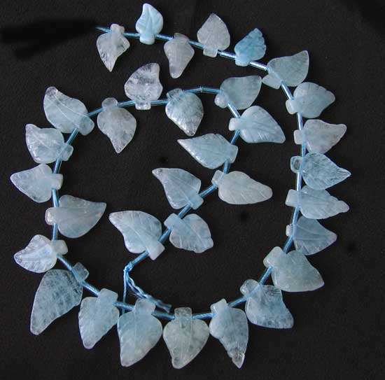 natural carved aquamarine leaf beads