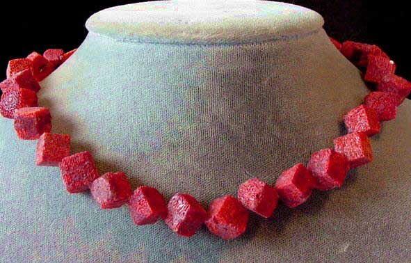 diagonal red sponge coral cube beads