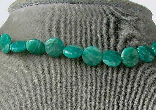 faceted amazonite coin beads