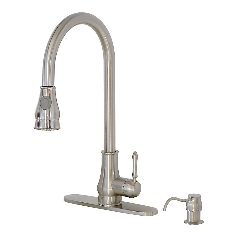 Details about Brushed Nickel Kitchen Sink Faucet Pullout Spray Soap