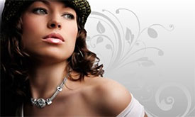 Silverado model wearing necklace with focal bead and regular side beads