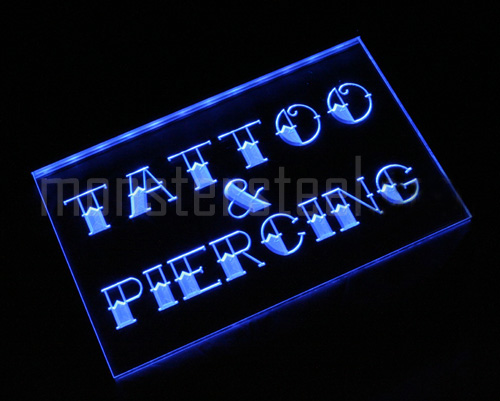 i296-b NEW Tattoo & Piercing Shop Logo Neon Light Sign. Please wait