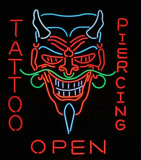 HUGE Devil TATTOO & Body Piercing Shop OPEN Neon Sign