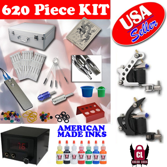Starter Tattoo KIT 2 Machine LCD Power Supply 7 USA Ink