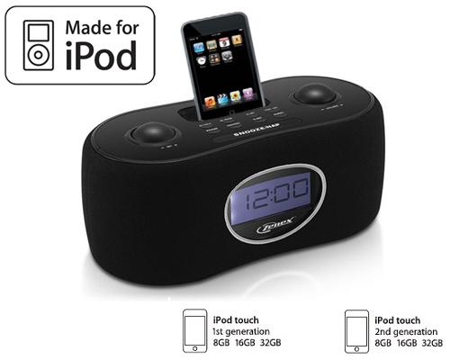 new black ipod touch docking station alarm clock radio. Black Bedroom Furniture Sets. Home Design Ideas