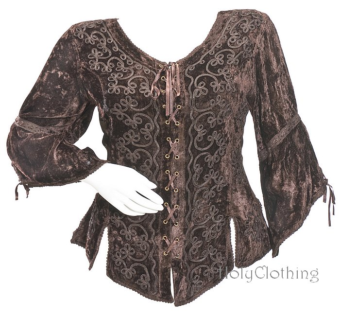 RENAISSANCE VICTORIAN LaceUp VELVET CORSET TOP  :  holyclothing velvet shirt velvet top gothic corset