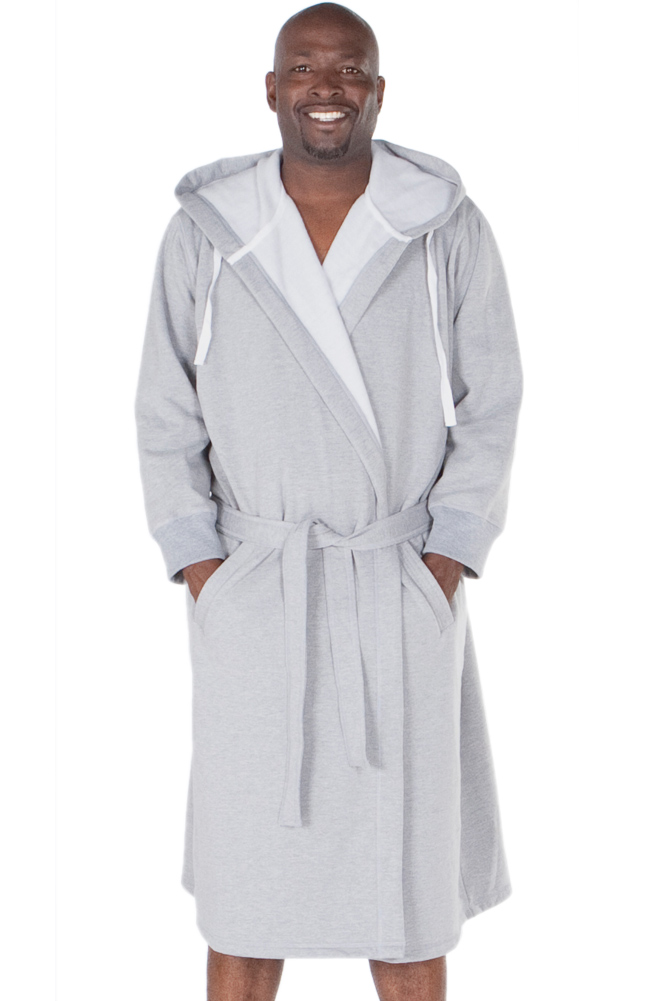 new mens sweatshirt style hooded bathrobe ebay. Black Bedroom Furniture Sets. Home Design Ideas