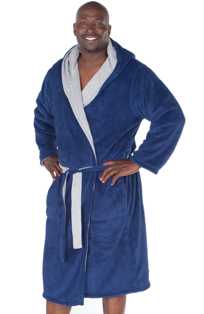new mens reversible fleece hooded bathrobe ebay. Black Bedroom Furniture Sets. Home Design Ideas