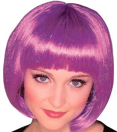 50426ru-Purple: Sexy Super Model Purple Bob Short Halloween Costume Wig
