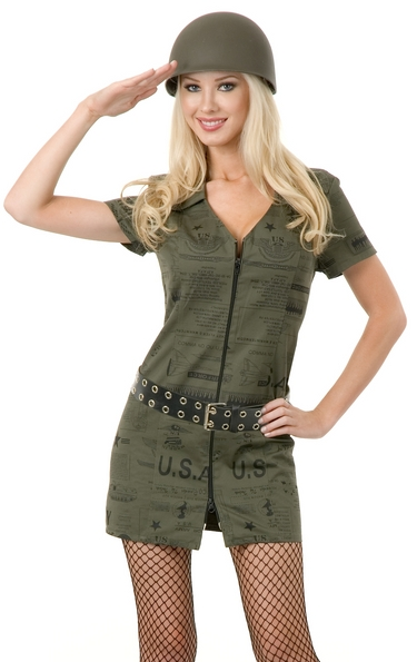 Charades Sexy Army Pin Up Girl Adult Military Air Force Costume: 02182ch