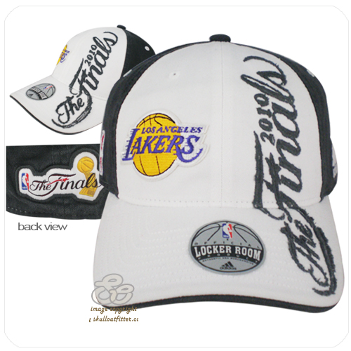 990775fe273 adidas NBA 2010 lakers western champions locker room flex fit fitted hat cap