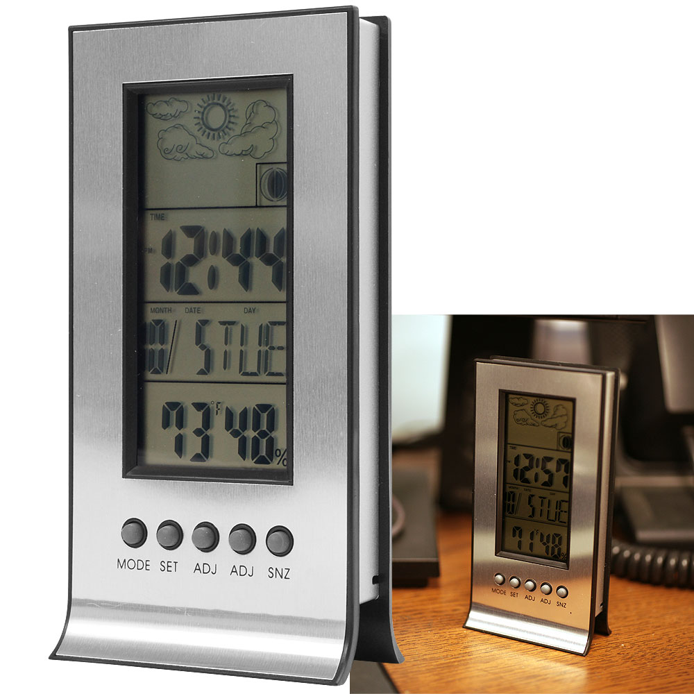Digital Weather Station : Digital weather station with alarm clock thermometer ebay
