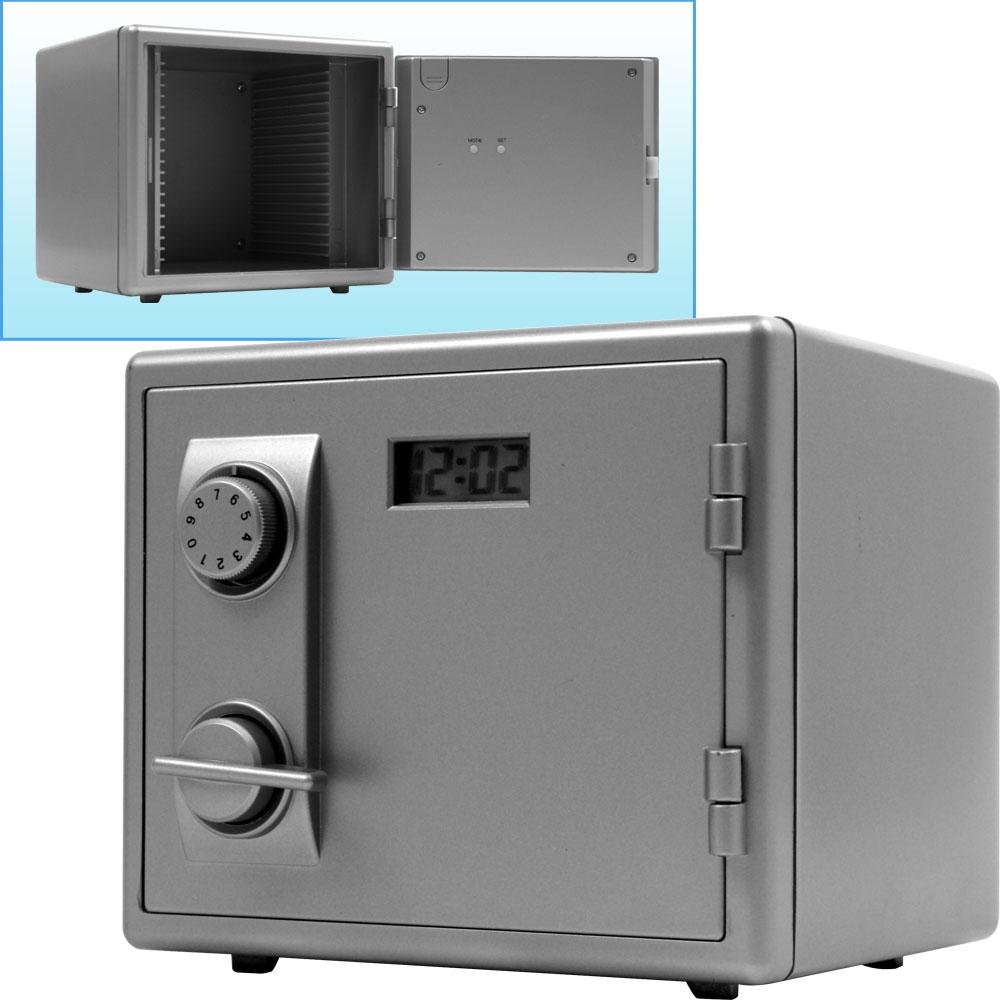 Trademark Mini Safe w/ LCD Clock Kids Bank Safe